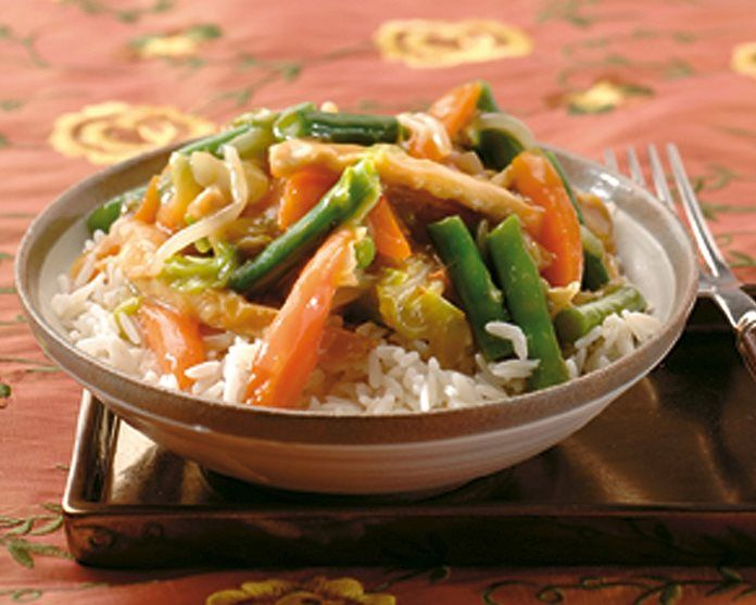Tjap Tjoy - Chinese groenten met kipreepjes en rijst