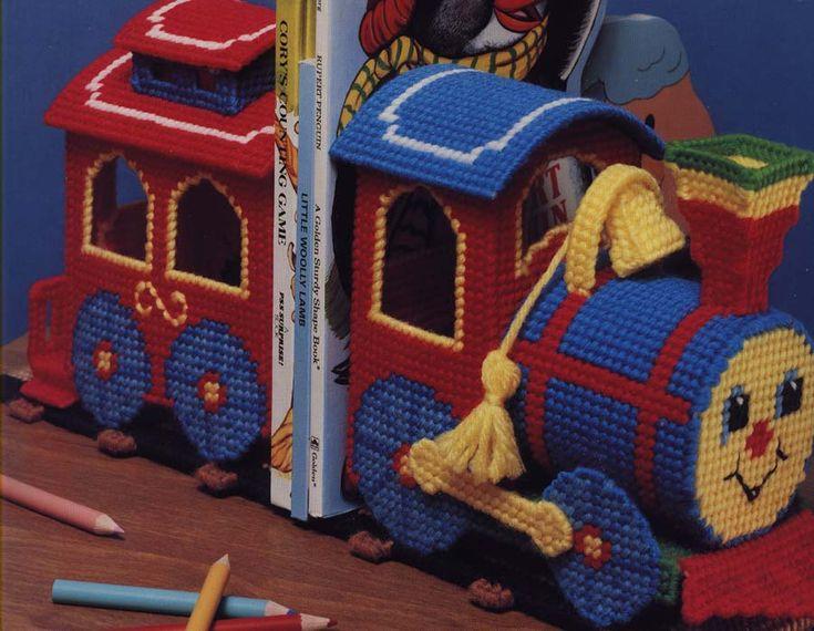 Train book ends plastic canvas