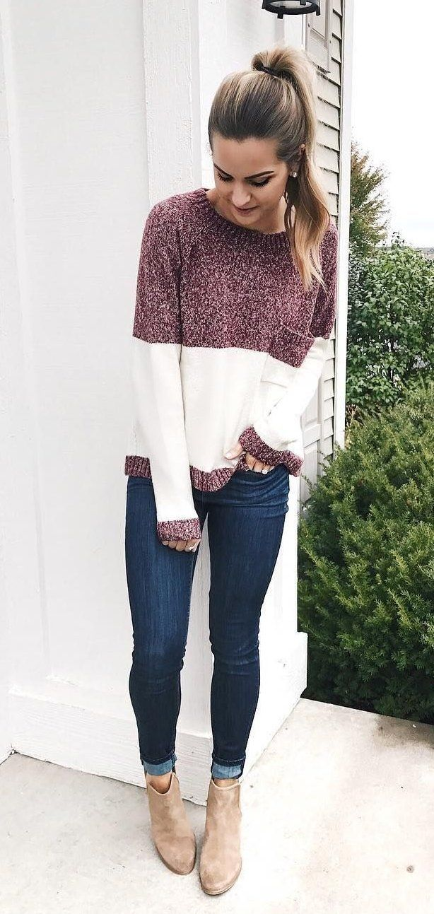 a194355771b5 #winter #outfits maroon and white crew-neck sweater, blue jeans, and pair  of brown booties