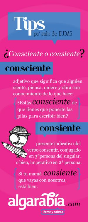 ¿Consciente o consiente? ✿ Spanish Learning/ Teaching Spanish / Spanish Language / Spanish vocabulary / Spoken Spanish ✿ Share it with people who are serious about learning Spanish!