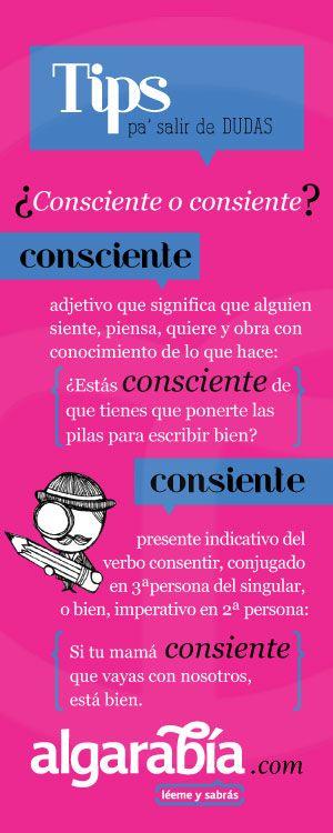 ¿Consciente o consiente? #tip #español #lengua