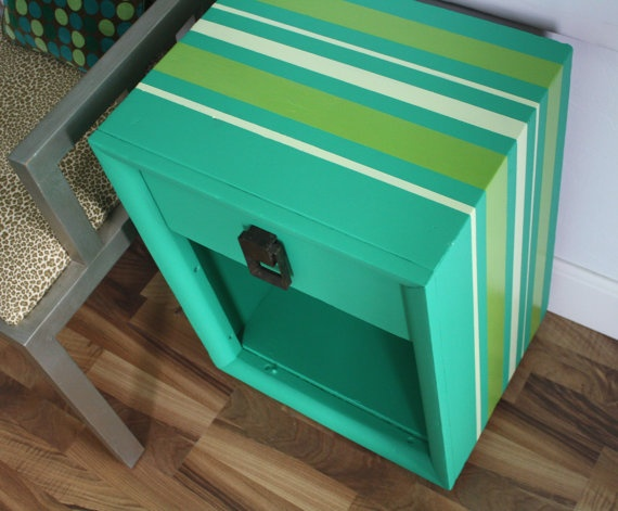 Green Mid Century Modern Side / Accent / End / by theTurquoiseIris, $175.00