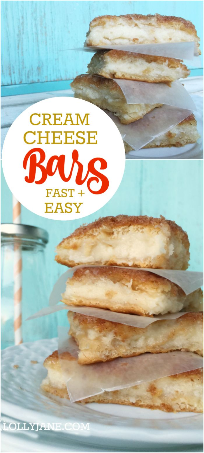 Easy cream cheese bars recipe. SO GOOD and SO easy to make! Great family recipe idea, these cream cheese squares are filled with a cheesecake like cream and are perfect for holiday get togethers or nightly dessert. Easy cheese danish recipe!