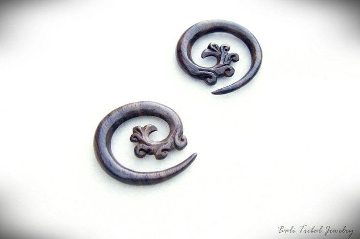 2g Spiral Wood Gauge Tribal Earring 6mm Wooden Gauge Piercing for 2g or 6mm Earlobe GW015-02-2 #BaliTribalJewelry