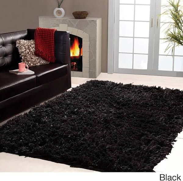Captivating Black Furry Rug