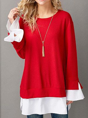 Round Neck  Patchwork  Fake Two-Piece  Plain  Long Sleeve Sweatshirts