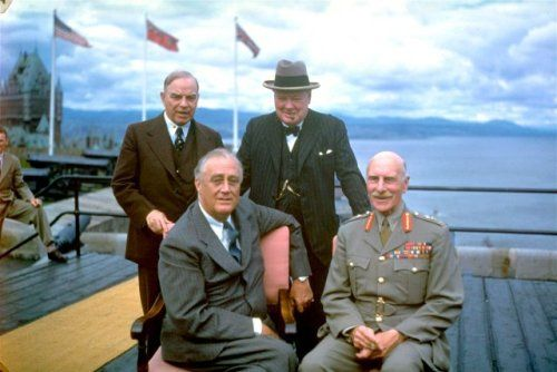 Alexander, Earl of Athlone, Governor General of Canada, with three WW2 leaders, August 1943.   Left to right: William Mackenzie King, Prime Minister of Canada; US President Franklin Roosevelt; British Prime Minister Winston Churchill; the Earl of Athlone. Photo taken during the First Quebec Conference of 1943.   The Earl of Athlone was the brother of Queen Mary and a great-grandson of George III.