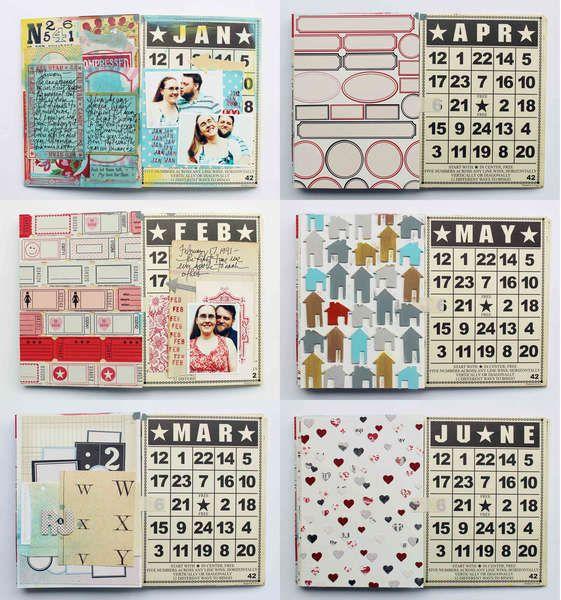 Jenni Bowlin Studio's Gallery: Calendar Mini Album by Jill Sprott, scrapbook.com
