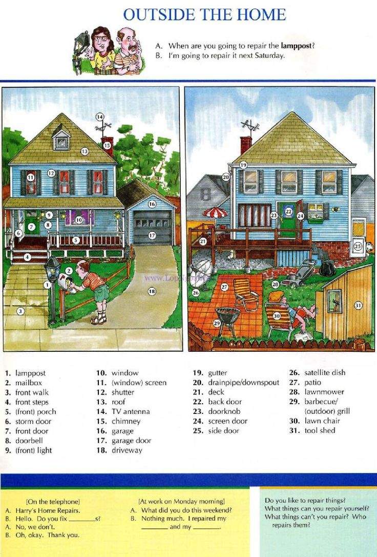 21 - OUTSIDE THE HOME - Pictures dictionary - English Study explanations free exercises