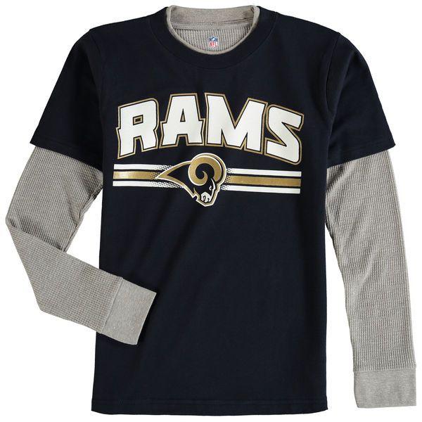 Los Angeles Rams Youth Fan Gear Bleachers Faux Layer Long Sleeve T-Shirt - Navy - $24.99