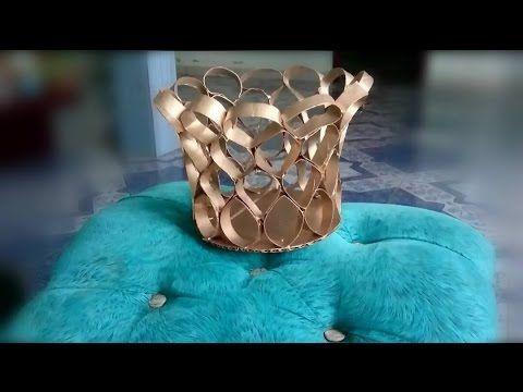 Cómo reciclar tubos - rollos de papel y convertirlos en un objeto decorativo - YouTube
