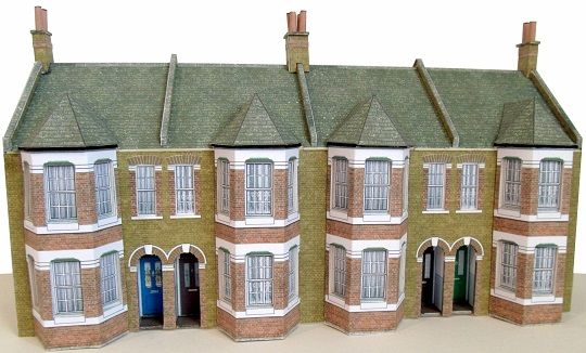Victorian terraced houses half relief block of four 1/76 scale