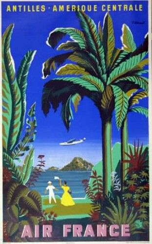 Affiche Air France - Antilles Amérique Centrale,1948