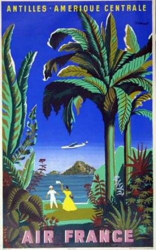 Affiche AIR FRANCE - Antilles Amérique Centrale B.Villemot 1948