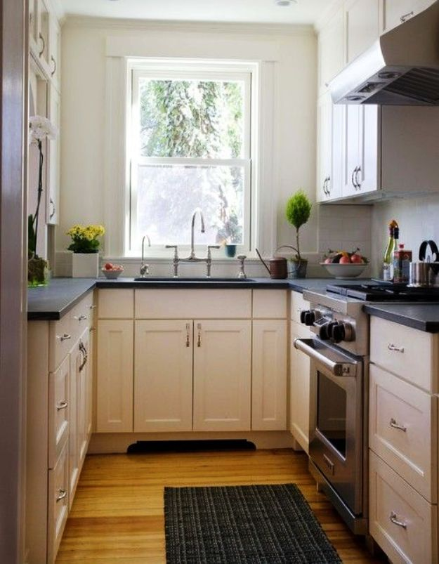 25 best ideas about very small kitchen design on for Tiny u shaped kitchen designs