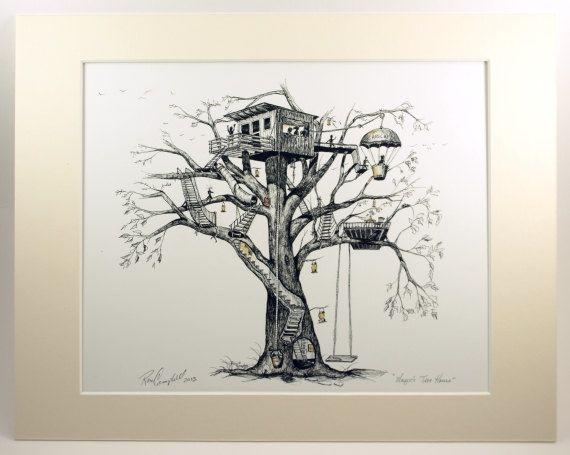 "Treehouse, tree house, whimsy, fireflies, Pen & Ink and Watercolor, ""Maggie's Tree House"" (Reproduction (matted))"