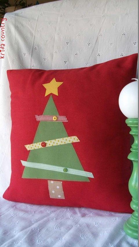 Mesés Karácsony - Vidéki romantika párnahuzat, Karácsonyi, adventi apróságok, Karácsonyi dekoráció, Meska