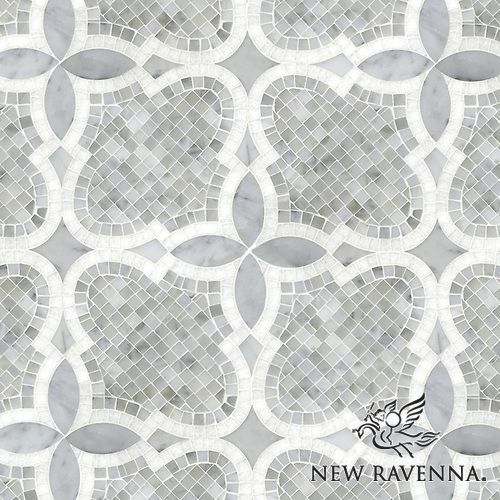 Aiden™ handmade mosaic in polished and honed Carrara and polished Thassos | The Studio Line of Ready to Ship mosaics | New Ravenna