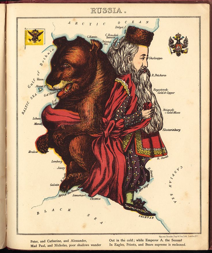 Russia Caricature Map 1868 Poster created by