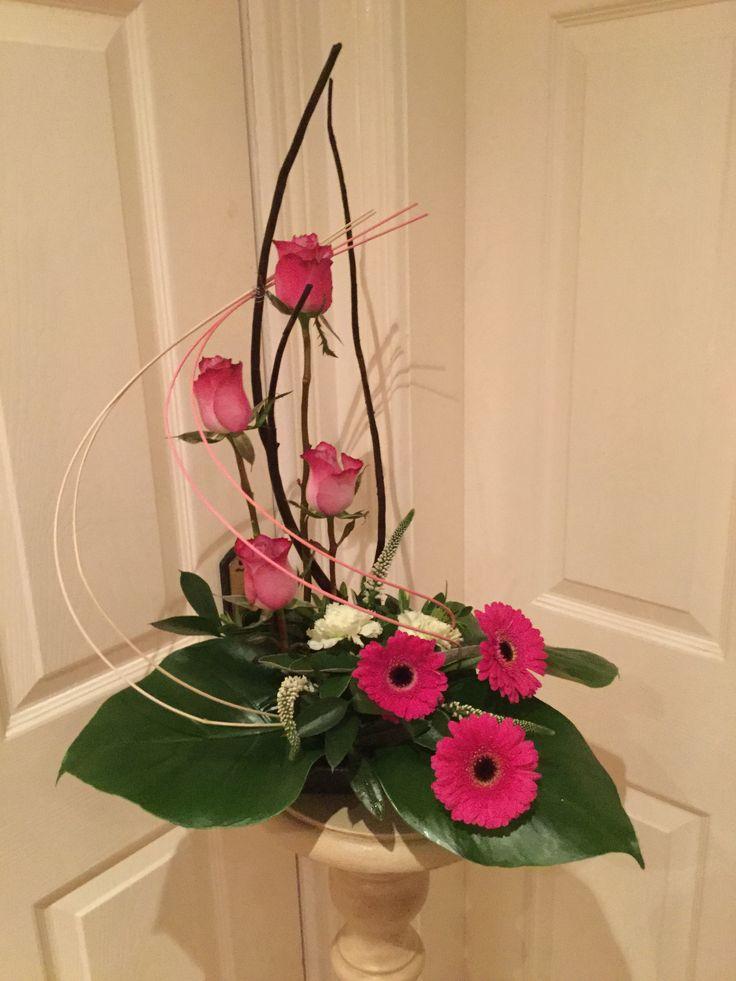 Roses, gerbera, carnations,Veronica, twigs and greenery