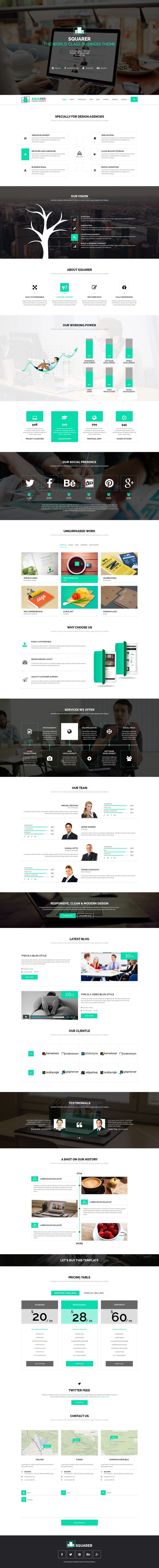 Squarer Responsive HTML5 Template is a complete portfolio for creative agencies, freelancers, Graphic designers, illustrators, photographers or any kind of creative workers are now able to create a quick & easy portfolio to showcase of their work with an elegant touch.