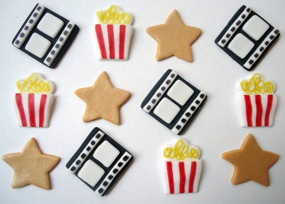 Edible Movie Cupcake Toppers - Fondant Cupcake Toppers - Movie Themed via Etsy