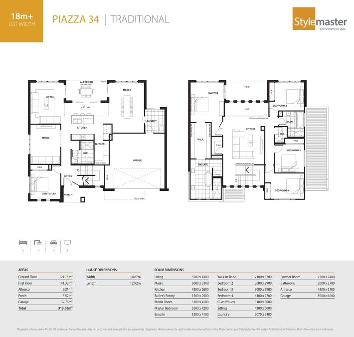 Closest floorplan to the Piazza 35.  This is the Piazza 42 with Traditional Facade - Stylemaster Homes