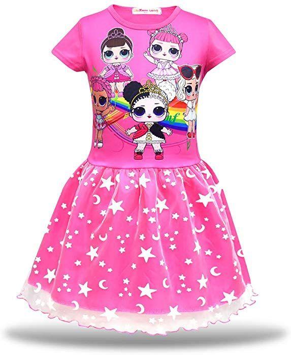 c540aea5f0401 Amazon.com: iCosplay-Studio Little Girls LOL Dolls Tutu Tulle Dress Rainbow  Printed Casual T-Shirt Dress for Doll LOL Surprised (2-3Y/ 100cm, ...