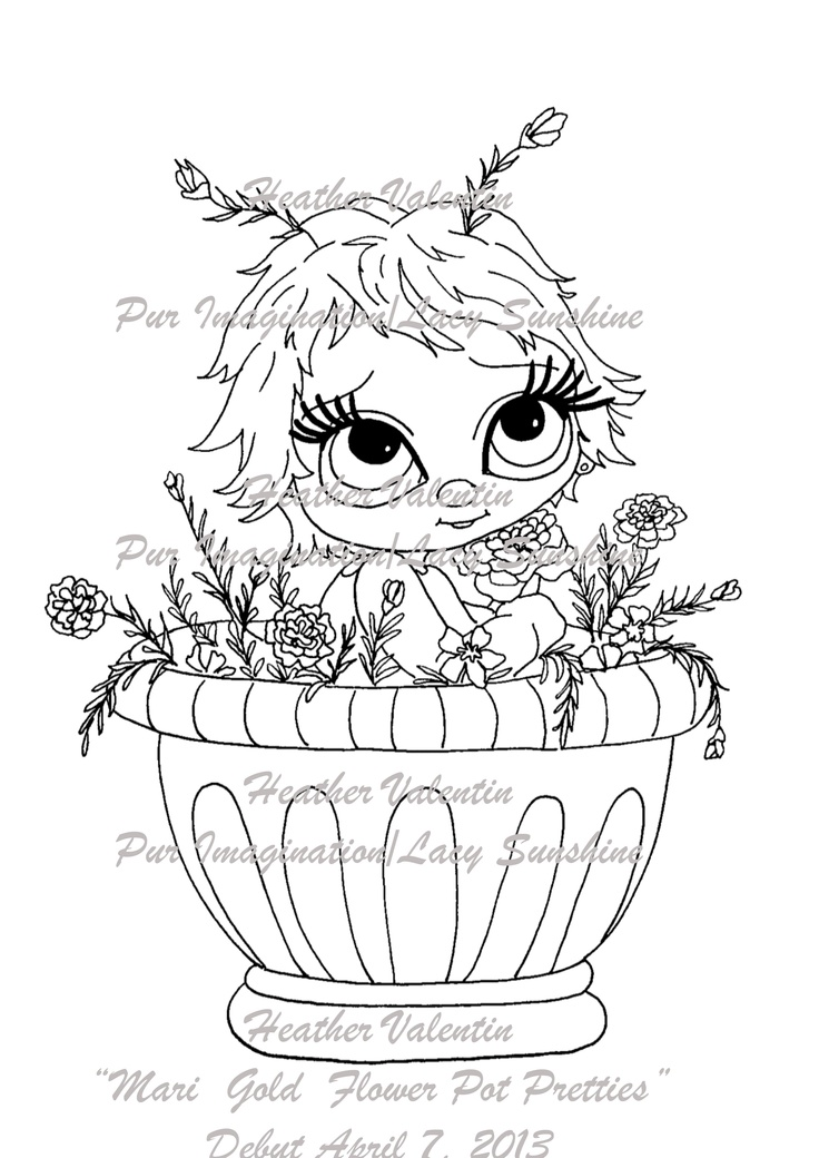 mari gold flower pot pretties digi stamp available at my