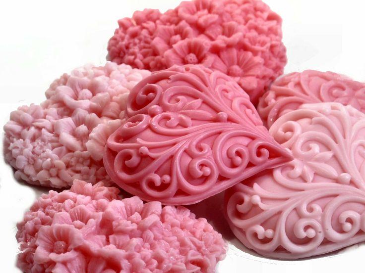 Christmas Soap Pink Peppermint Victorian Hearts Decorative Soap. $10.00, via Etsy - DIY???