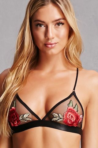 This sheer mesh bralette features embroidered floral appliques on the cups, adjustable straps, and a dual hook-eye closure in back.<p>- This is an independent brand and not a Forever 21 branded item.</p>