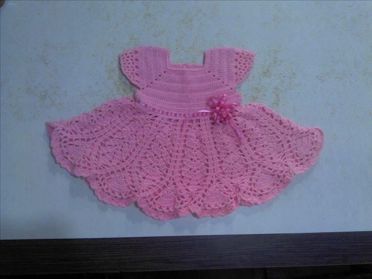 Lindo vestido a crochet para bebé de 6 a 9 meses