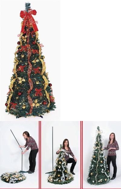 Artificial Christmas Trees 117414 6 Ft Pre Lit Pop Up Decorated Collapsible Tree 350 Clear Lights New R