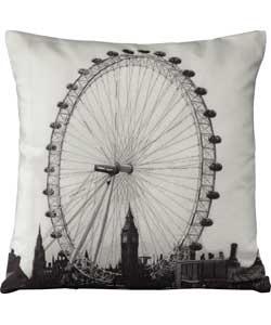 Living London Eye Embroidered Cushion - 43x43cm.