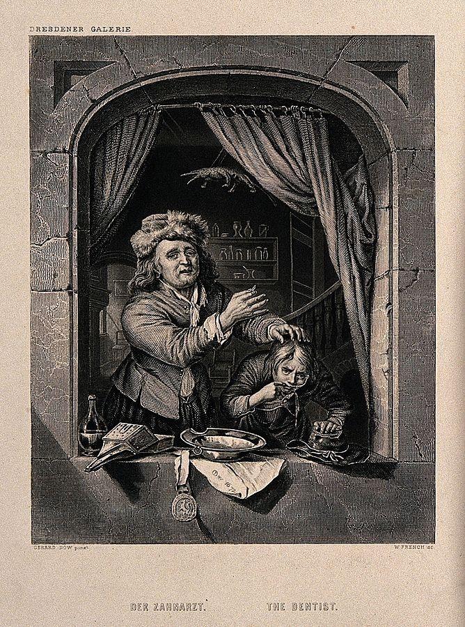 William French: de tandarts. 19e eeuw. Gravure. The Wellcome Library, London. Naar Gerard Dou: Tandarts en patient in een venster. 1672