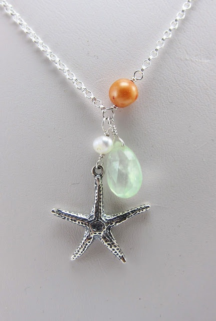 Beach Bridesmaids Jewelry Starfish And Shell Charm Necklaces With Dyed Freshwater Pearls Aaa Grade