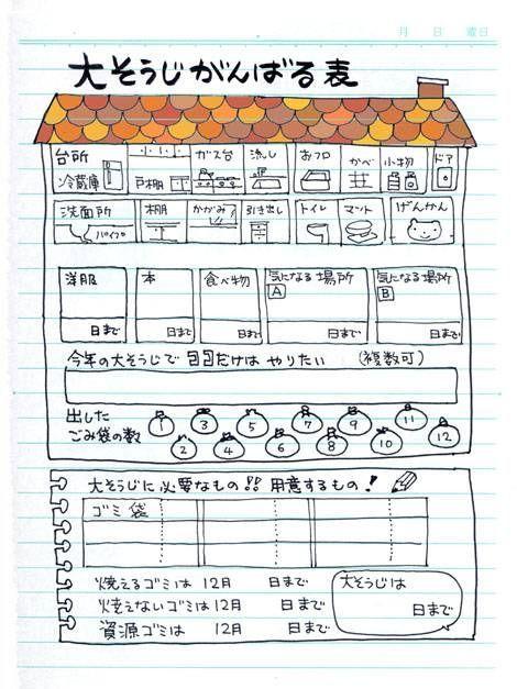 大掃除達成計画表 - マンガ家 高橋陽子の「がんばりましたね、 タカハシさん!」要潤にそう言われるのが夢なのです。熱血100チャレブログです