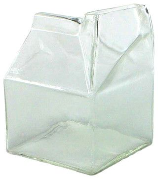 Glass Milk Carton - Clear transitional-serveware