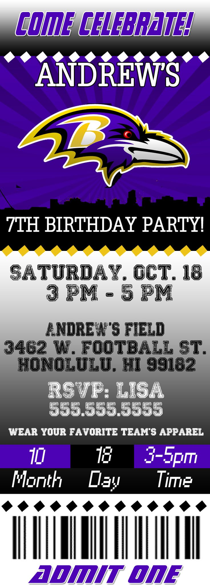 NFL Baltimore Ravens Ticket Birthday Invitation