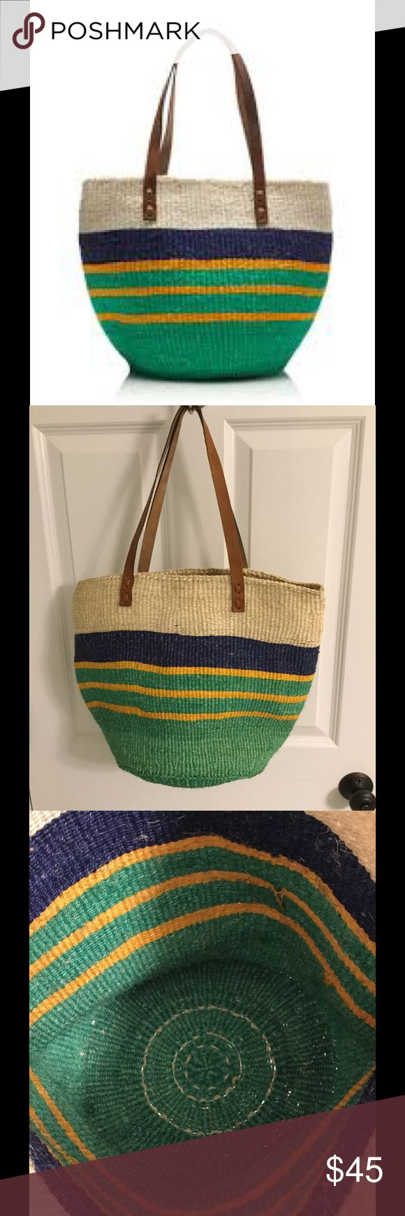 "J. Crew Bamboula Ltd. tote beach bag Fabulous sisal tote by Bamboula Ltd. for J. Crew.  I purchased this directly from their web site - it is from the In Good Company section - there are no J. Crew tags or labels on it.  These bags are handmade in Africa, so there are minor imperfections.  The slight wear to the interior leather strap and the small black marks were there when I purchased the bag.  Only used for 1 week on vacation.  Approx measurements: 9"" handle drop, 12"" high, 16"" wide and…"