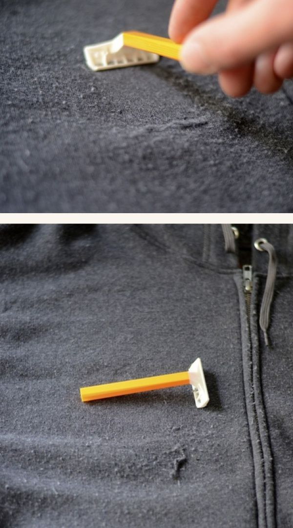 Use a razor to shave the pills off your hoodie and to make it look new again. (Grab a 12 pack of razors from the Dollar Tree) Life Hacks Everyone Should Know Before Winter Comes
