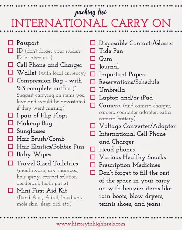 Packing Tips: International Carry On Checklist