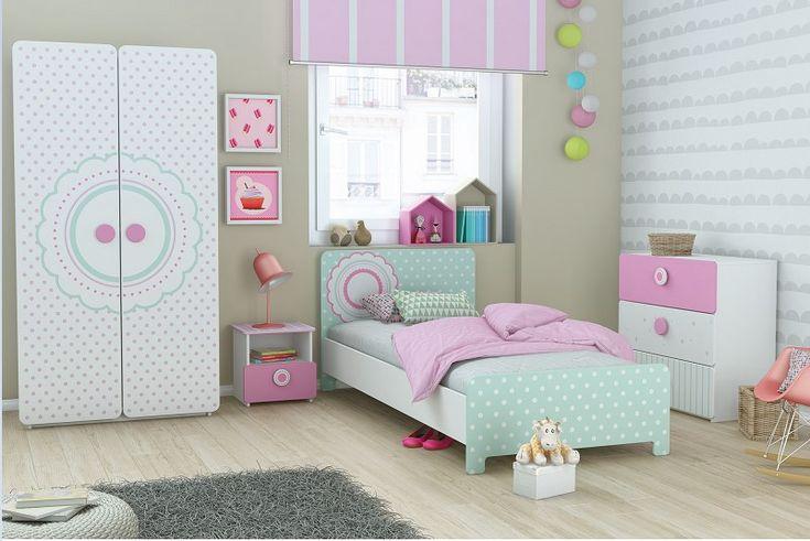 Chambre complète SUZETTE pas cher avec Lit 90x200cm/Chevet/Commode/Armoire bois SUZETTE prix Lit Enfant Delamaison 599.00 €