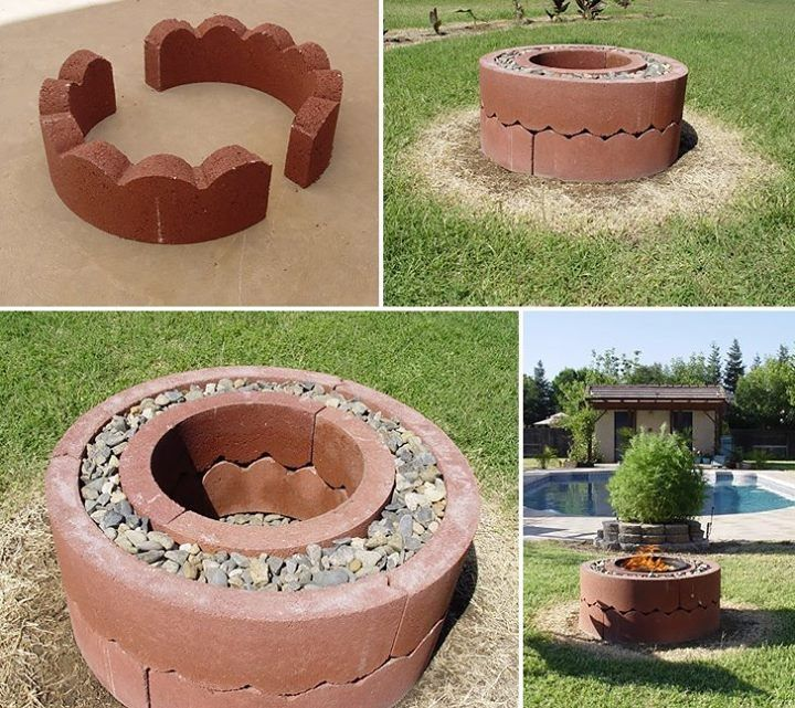 A really clever idea of using concrete tree rings of two different sizes separated by pebbles, to make a fire pit  .....