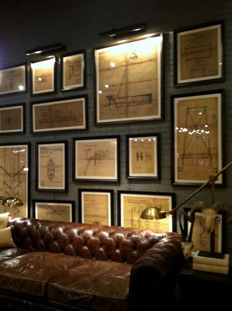 Wall art living room pinterest more vintage sofa for Masculine office decor
