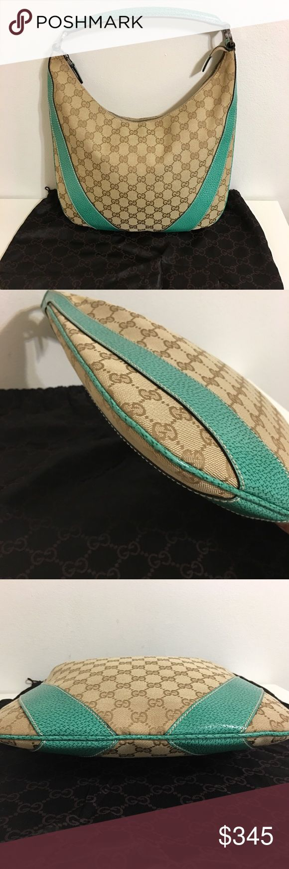 Authentic GUCCI bag Authentic GUCCI hobo bag. Made in Italy. Classic Gucci canvas with silver hardware and turquoise leather. Canvas, bottom, stitching, and handles in great condition. Inside unique turquoise lining with one pocket, clean as well. Serial # shown on the picture. Very good condition! Zipper works well. Smoke free home. Dimensions are: 13L across x 13H x 0.5D. Original dust bag included. Perfect spring/ summer everyday bag! Great condition. Feel free to request different…
