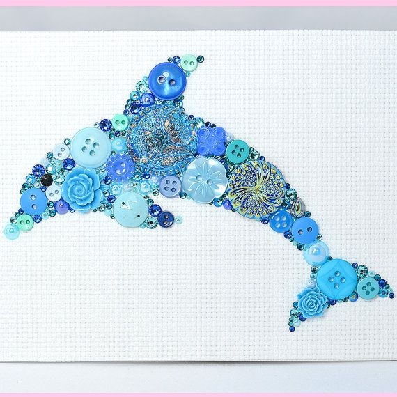 Blue Dolphin Button Art - Vintage Button Art by PaintedWithButtons
