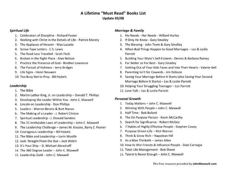 John C. Maxwells reading list!