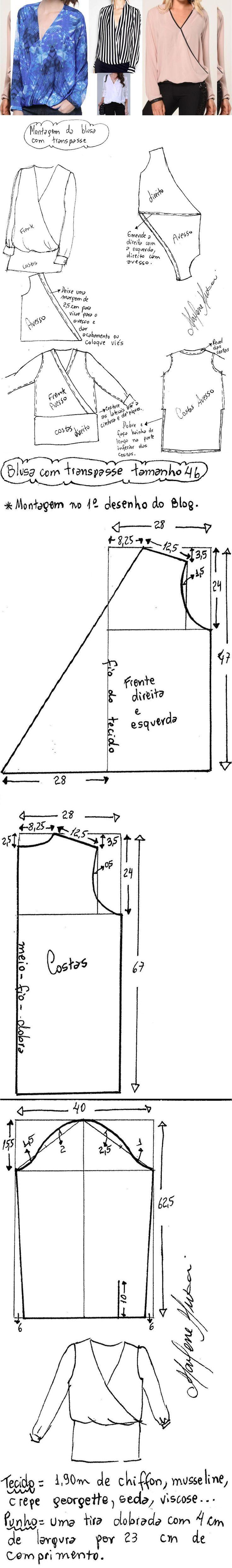 DIY – molde, corte e costura – Marlene Mukai. Blusa transpassada. Uma blusa fácil de fazer com transpasse somente na frente e esquema de modelagem do 36 ao 56. No primeiro desenho abaixo se encontra a forma de montar a blusa.