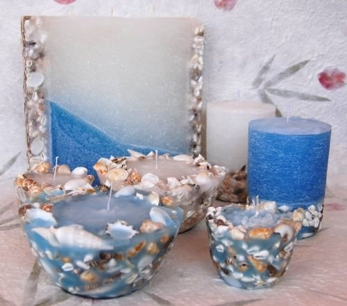 candles in wax and shells